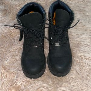 Women's Custom Black Leather Timberland Boots